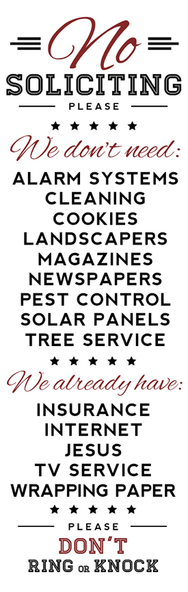 No Soliciting With Cookies